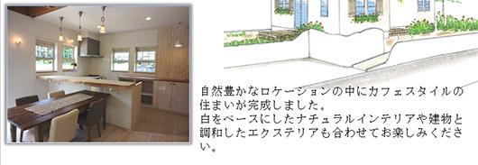 自然豊かなロケーションの中にカフェスタイルの住まいが完成しました。白をベースにしたナチュラルインテリアや建物と調和したエクステリアも合わせてお楽しみください。